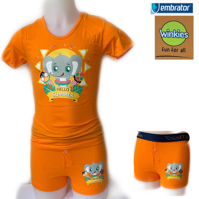 Embrator Jongens ondergoed set t-shirt+boxer Hello Summer oranje 4-5