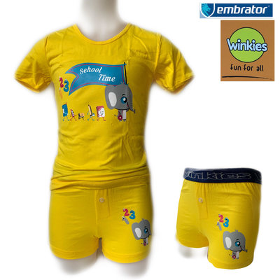 Embrator Jongens ondergoed set t-shirt+boxer School Time geel