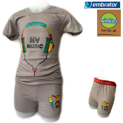 Embrator Jongens ondergoed set t-shirt+boxer My Music grijs 10-11