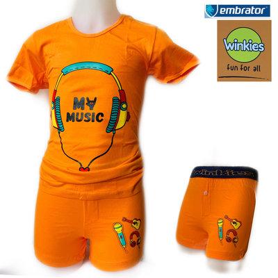 Embrator Jongens ondergoedset t-shirt+boxer My Music oranje