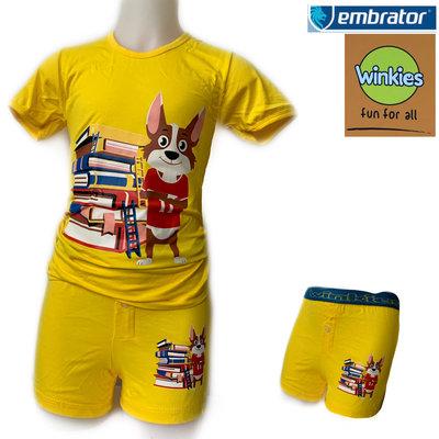 Embrator Jongens ondergoedset t-shirt+boxer Books geel