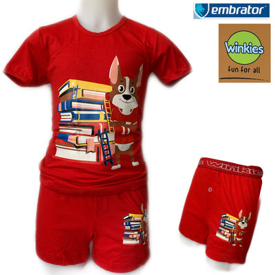 Embrator Jongens ondergoedset t-shirt+boxer Books rood