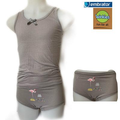 Embrator Meisjes ondergoed setje Flamingo licht grijs 8-9 jaar