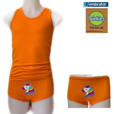 Embrator Meisjes ondergoed setje Unicorn oranje 4-5 jaar