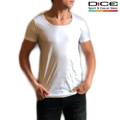 DICE T-Shirt lage ronde hals WIT