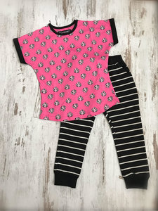 DICE Hondjes pyjama Fuchsia/Zwart